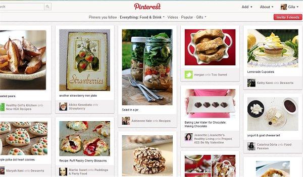 אוכל ומשקאות קידום באתר PINTEREST