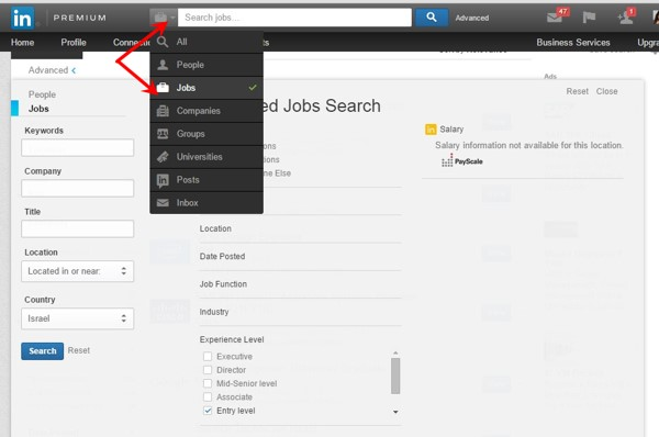 search for jobs on linkedin